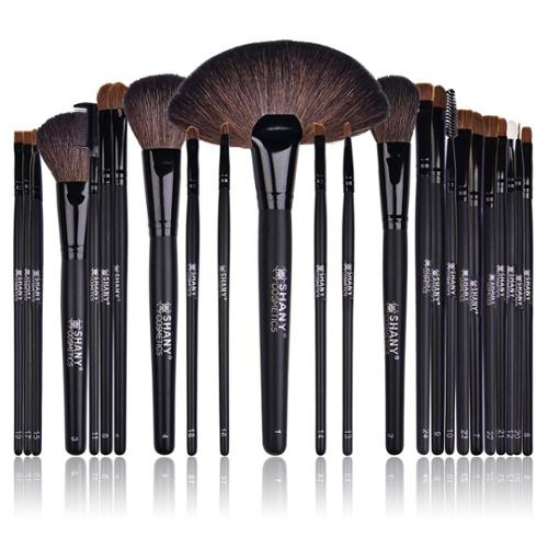 Shany Cosmetics SHANY Studio Quality Natural Cosmetic Brush Set with Leather Pouch (24 Count)