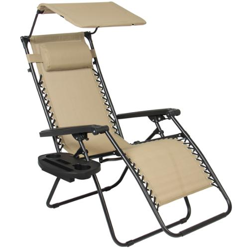 Folding Zero Gravity Recliner Lounge Chair With Canopy Shade & Magazine Cup Holder
