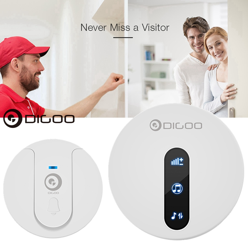 DIGOO DG-SD10 433.92MHz Outdoor Self-powered Waterproof Doorbell Ring Adjustment Indoor Door Bell Chime Receiver & Transmitter,Unique Sliding Button 58 Melodies 4 Levels Volume