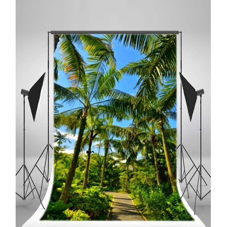 GreenDecor Polyster Palm Trees Backdrop 5x7ft Photography Background Garden Walkway Tropical Landscape Sunny Park Plants Travel Nature Photos Video Studio Props - Palm Tree Backdrop