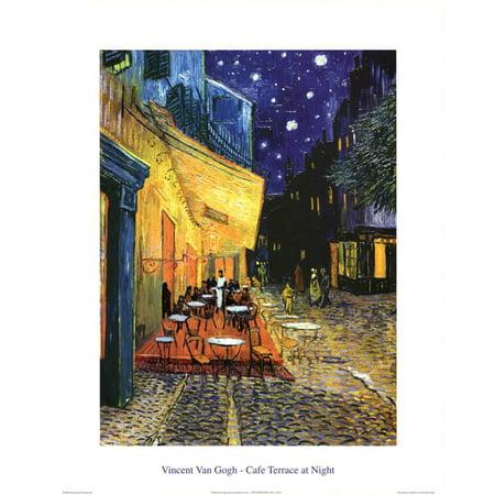 Vincent Van Gogh Cafe Terrace At Night Art Print Poster Mini Poster -