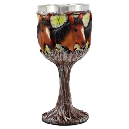 Ebros Gift Equine Beauty Wild Horses Wine Goblet 7oz Chalice Cup In Rustic Wood Bark Roots Design