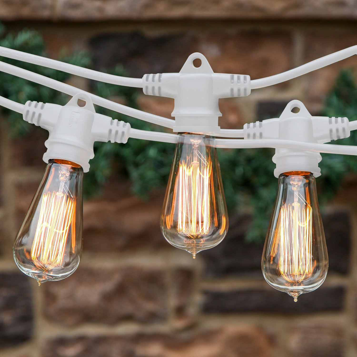 Brightech Ambience Pro Vintage Edition with WeatherTite Technology Outdoor Weatherproof Commercial Grade String Lights with Included Antique Edison Bulbs