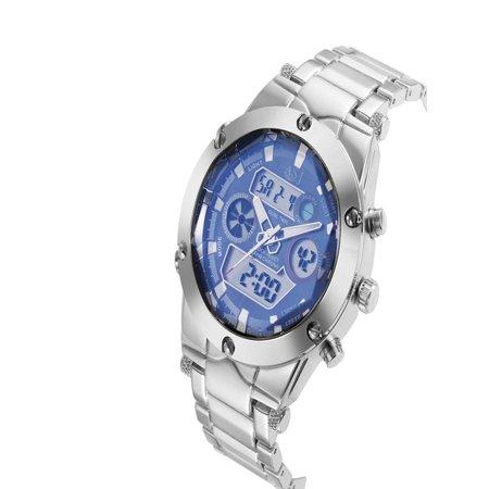 Day Date Chronograph - Dual  Analog Digital Display Time Date Day Alarm Chronograph Men's Business Sport Military Wrap Wrist Quartz Watch