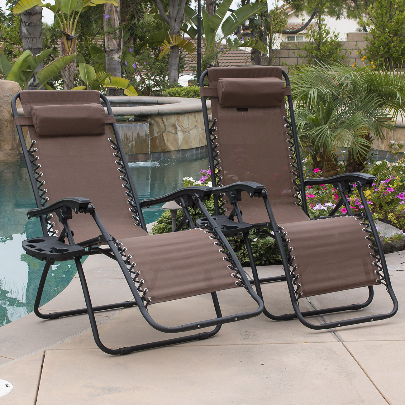 Belleze 2-Pack Zero Gravity Chairs Patio Lounge Foldable Cup Holder Utility Tray (Brown)