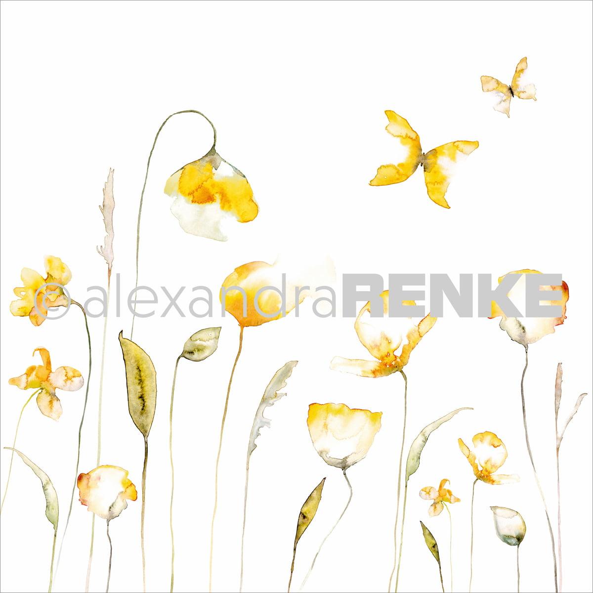 "Alexandra Renke Poppy Design Paper 12""X12""-Yellow"