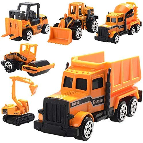 LAFGUR Construction Truck Vehicle Car Toy Set for Kids Toddlers Boys Child, 6pcs 1:64 Scale Playset with Excavator, Bulldozer, Street Roller,Dump Cement and so on, Mini Car Toy,Push and Go Toy Cars 10 Scale Trucks