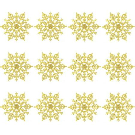 Plastic Snowflakes Bulk (ZEDWELL 12Pcs/Set 4-Inch Sparkly Plastic Glitter Snowflake Christmas Ornaments Xmas Tree Hanger Garland Making)