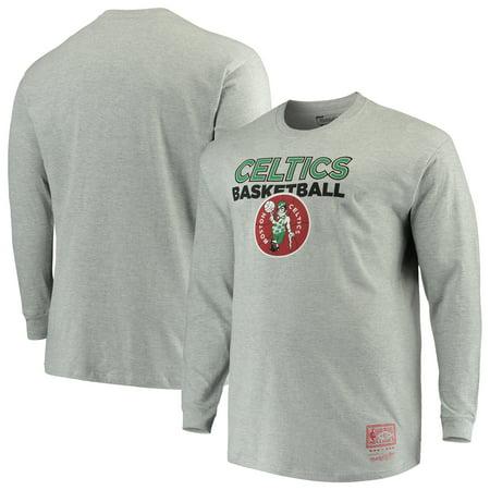 quite nice b5423 97bd7 Boston Celtics Mitchell & Ness Big & Tall Thowback Logo Long Sleeve T-Shirt  - Heathered Gray