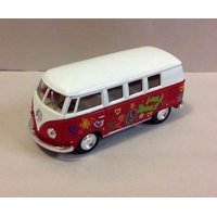 "5"" Kinsmart 1962 Volkswagen Classical Bus w/Decal 1:32 Diecast Love Peace RED"
