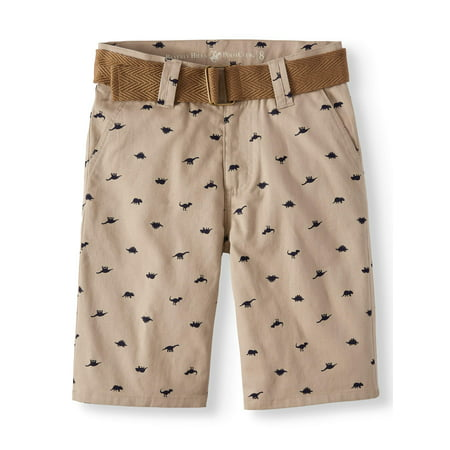 - Printed Flat Front Shorts with Belt (Big Boys)
