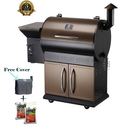 Grills Wood Pellet Grill & Smoker with Patio Cover, 7 in 1- Grill,700 Cooking Area, Roast, Sear, Bake,Smoke, Braise and BBQ with Electric Digital Controls for