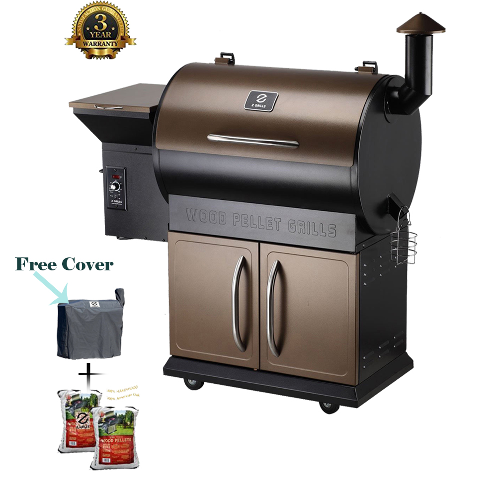 Grills Wood Pellet Grill U0026 Smoker With Patio Cover, 7 In 1  Grill,