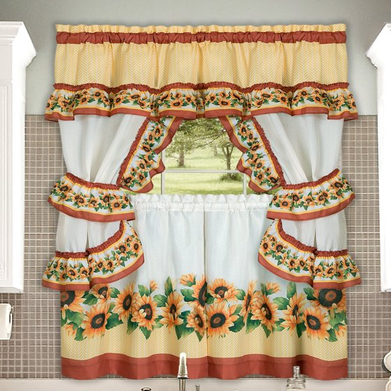 Chevron Sunflower Complete Kitchen Curtain Tier, Swag