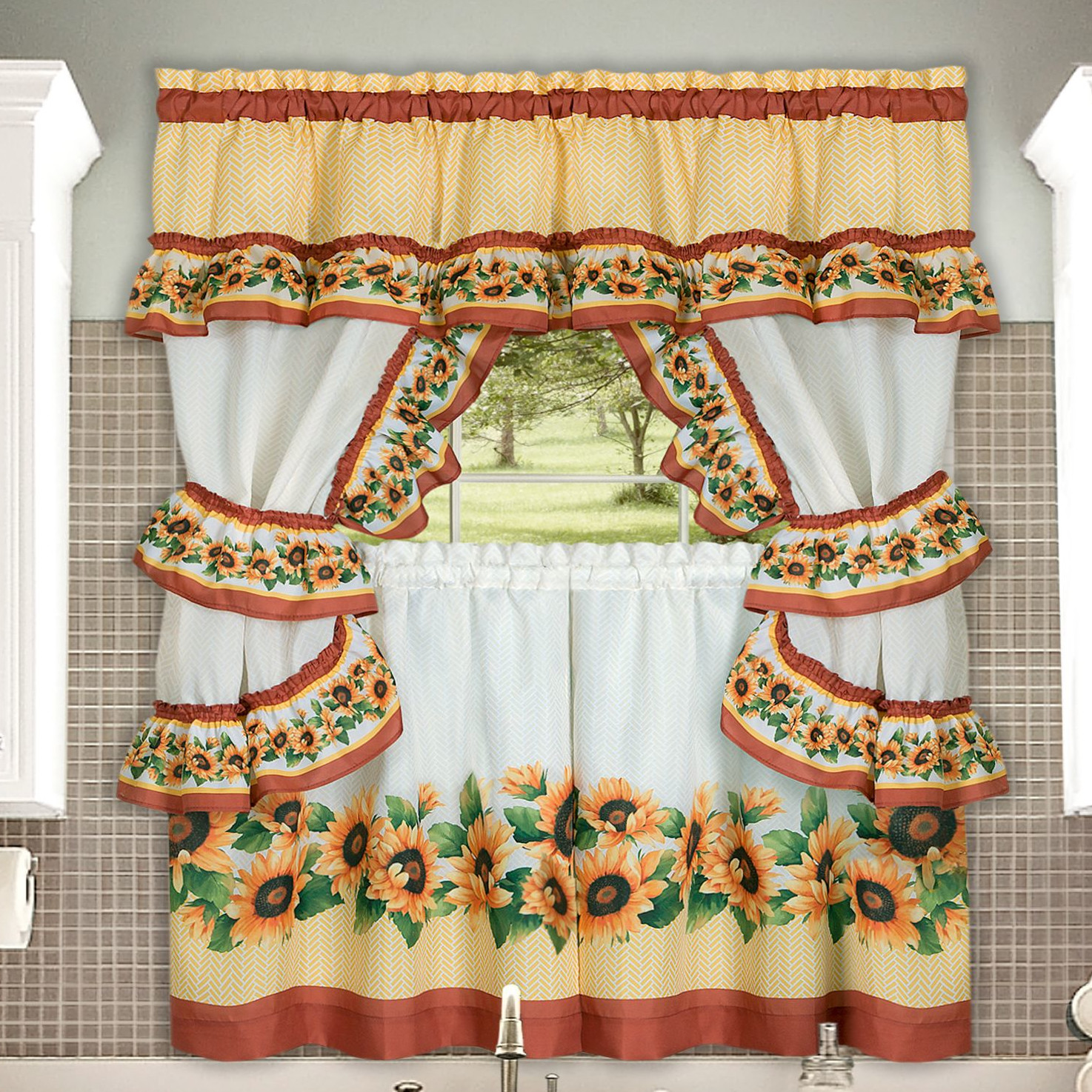 Chevron Sunflower Complete Kitchen Curtain Tier, Swag, Tiebacks & Valance Set - 36 in. Long