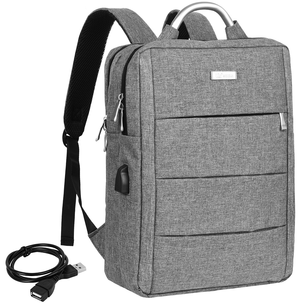 Vbiger Large-capacity Business Laptop Backpack with USB Charging Port, Water-resistent Anti Theft Computer Bag, Fits 14'' Laptop, Grey