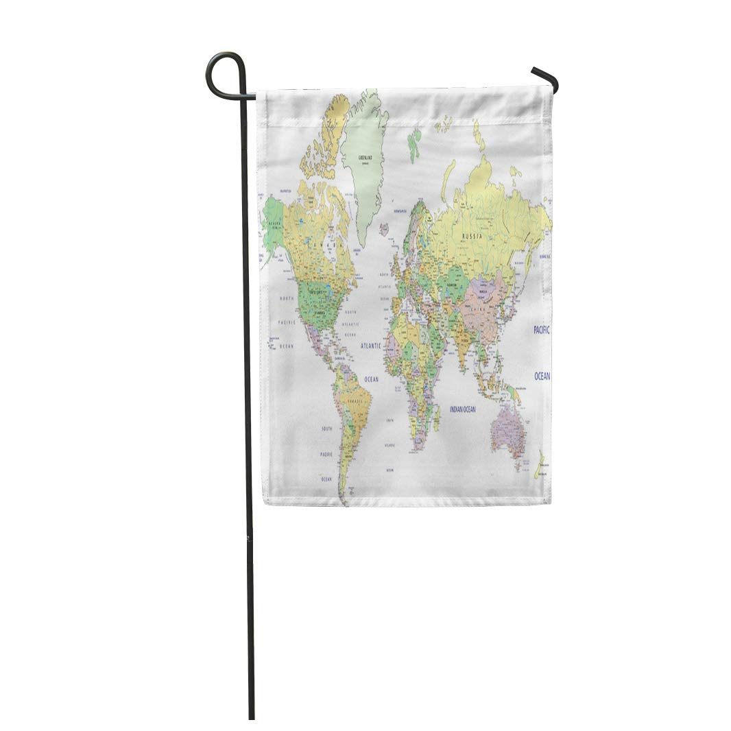 Picture of: Nudecor Blue Detail Highly Detailed Political World Map Labeling States Usa Garden Flag Decorative Flag House Banner 12×18 Inch Walmart Canada