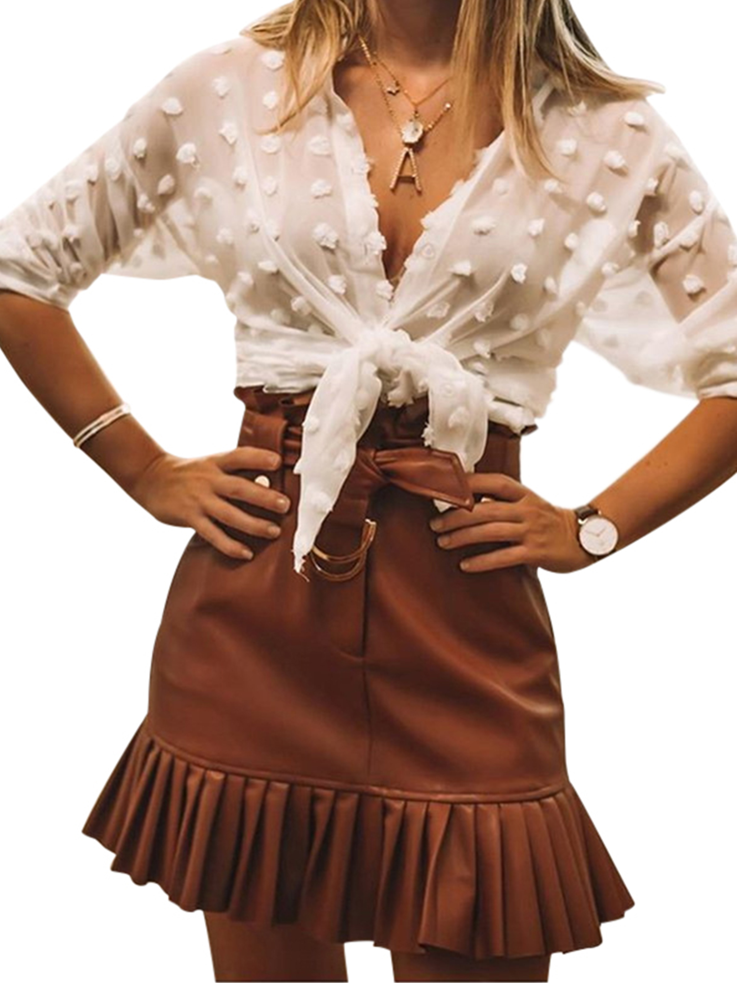 Ladies Ruffled Frill Mini Skirt Womens High Waisted Party Skort  Shorts New