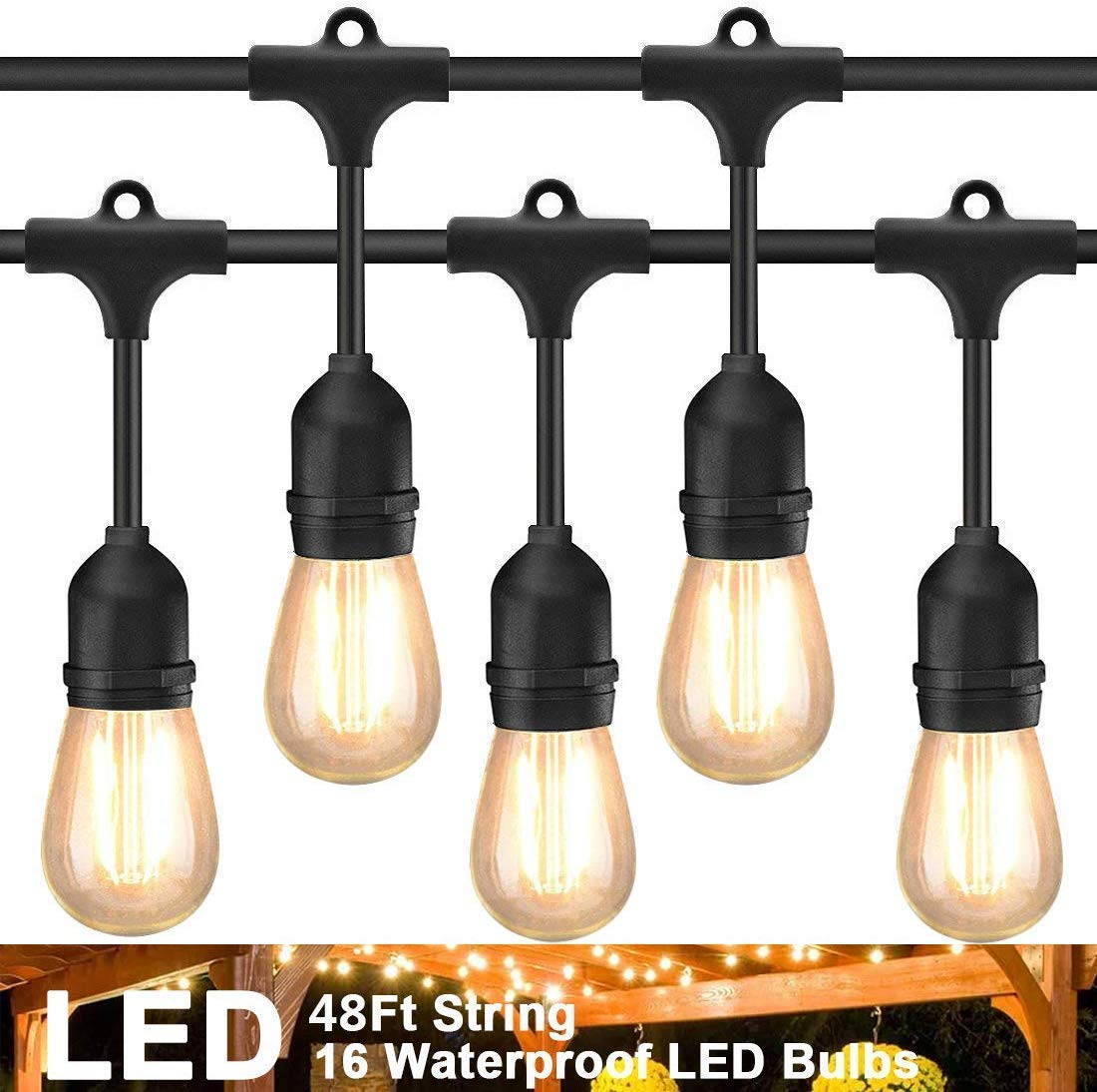 Rybozen 48Ft LED Outdoor String Lights With 16 Hanging