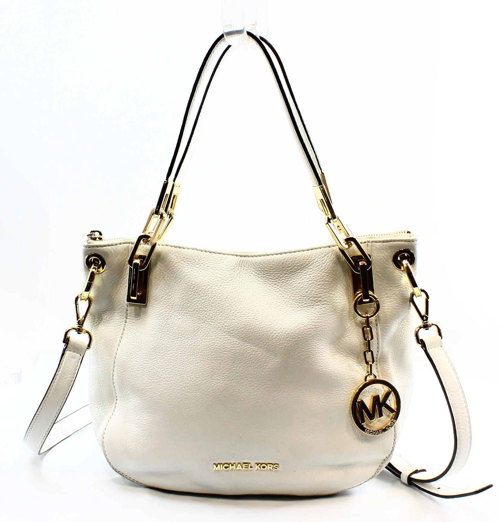 Michael Kors NEW Optic White Leather Jet Set Chain Shoulder Bag Purse