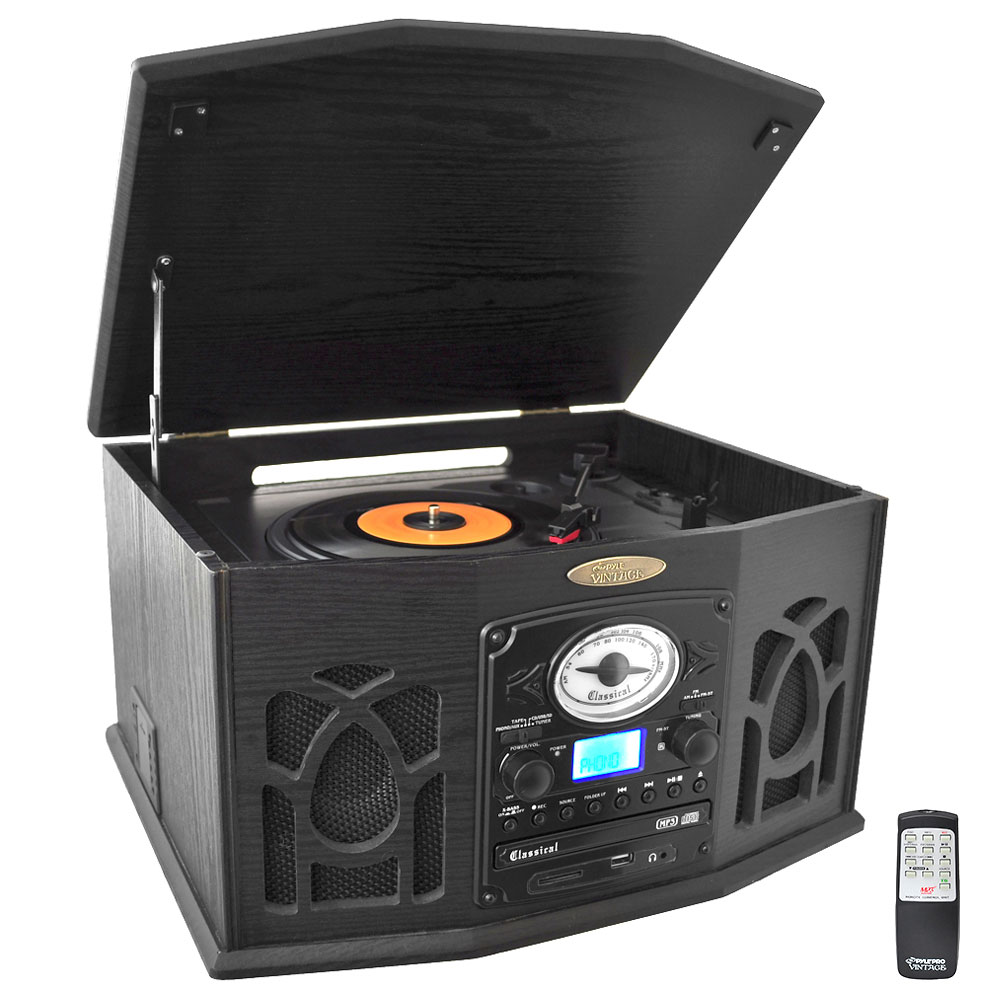Pyle PTCDS7UIB Vintage Classic-Style Turntable System with Built-in Speakers, AM FM Radio, CD & Cassette... by Pyle