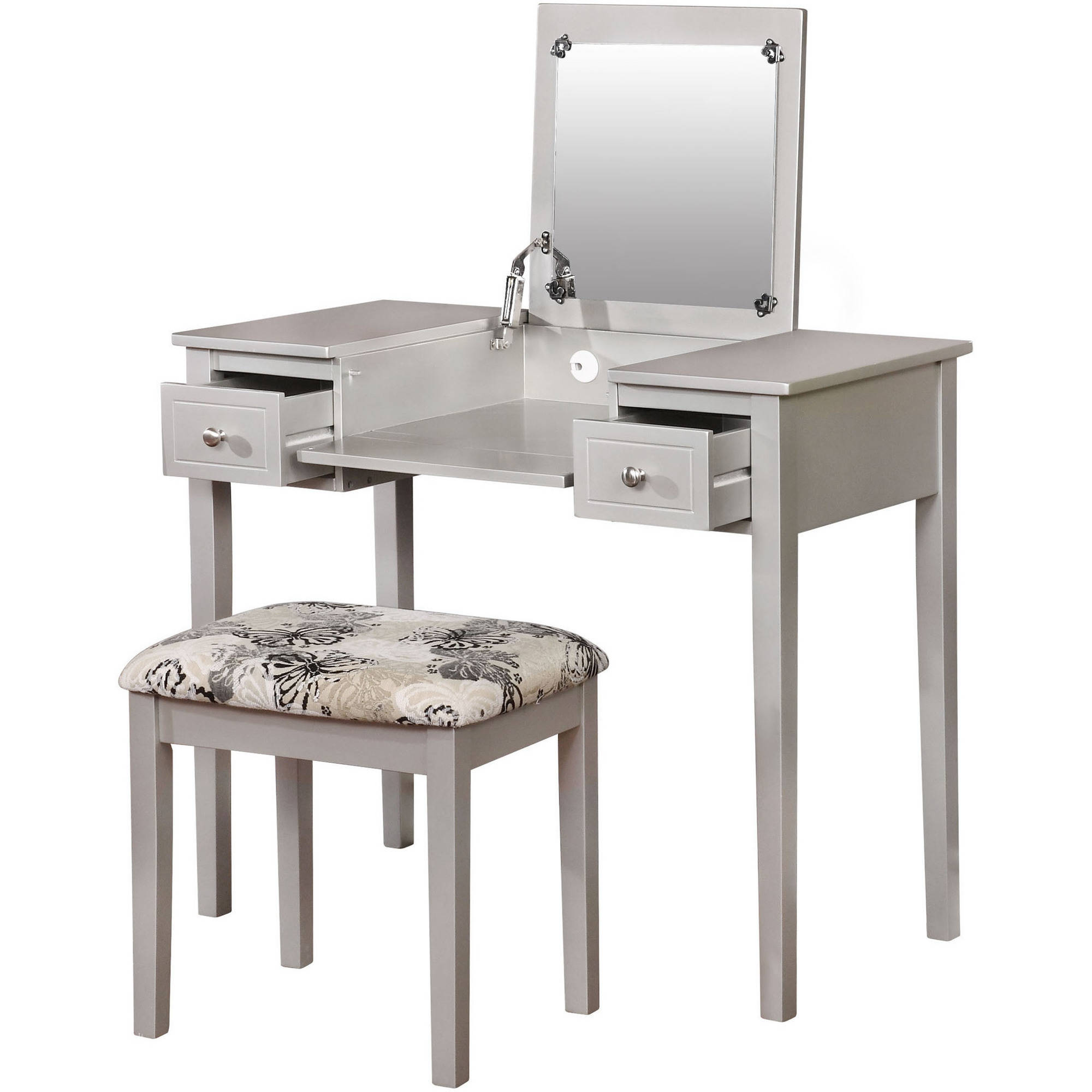 Product Image Linon Home Butterfly Vanity Set With Flip Top Mirror And  Stool, Multiple Colors