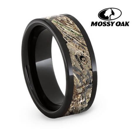 Authentic Mossy Oak Duck Blind Camo Ring, Black Ceramic Wedding Band