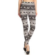 NioBe Clothing Womens Black White Christmas Pattern Ultra Soft Leggings (Reg&Plus Size)