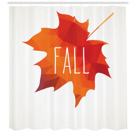 Poly Warm Up Set (Autumn Shower Curtain, Low Poly Maple Leaf Design in Warm Colors on Off White Background, Fabric Bathroom Set with Hooks, 69W X 70L Inches, Burnt Orange and Off White, by Ambesonne )