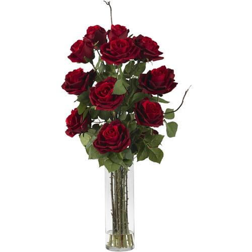 Red Roses with Cylinder Vase Silk Flower Arrangement