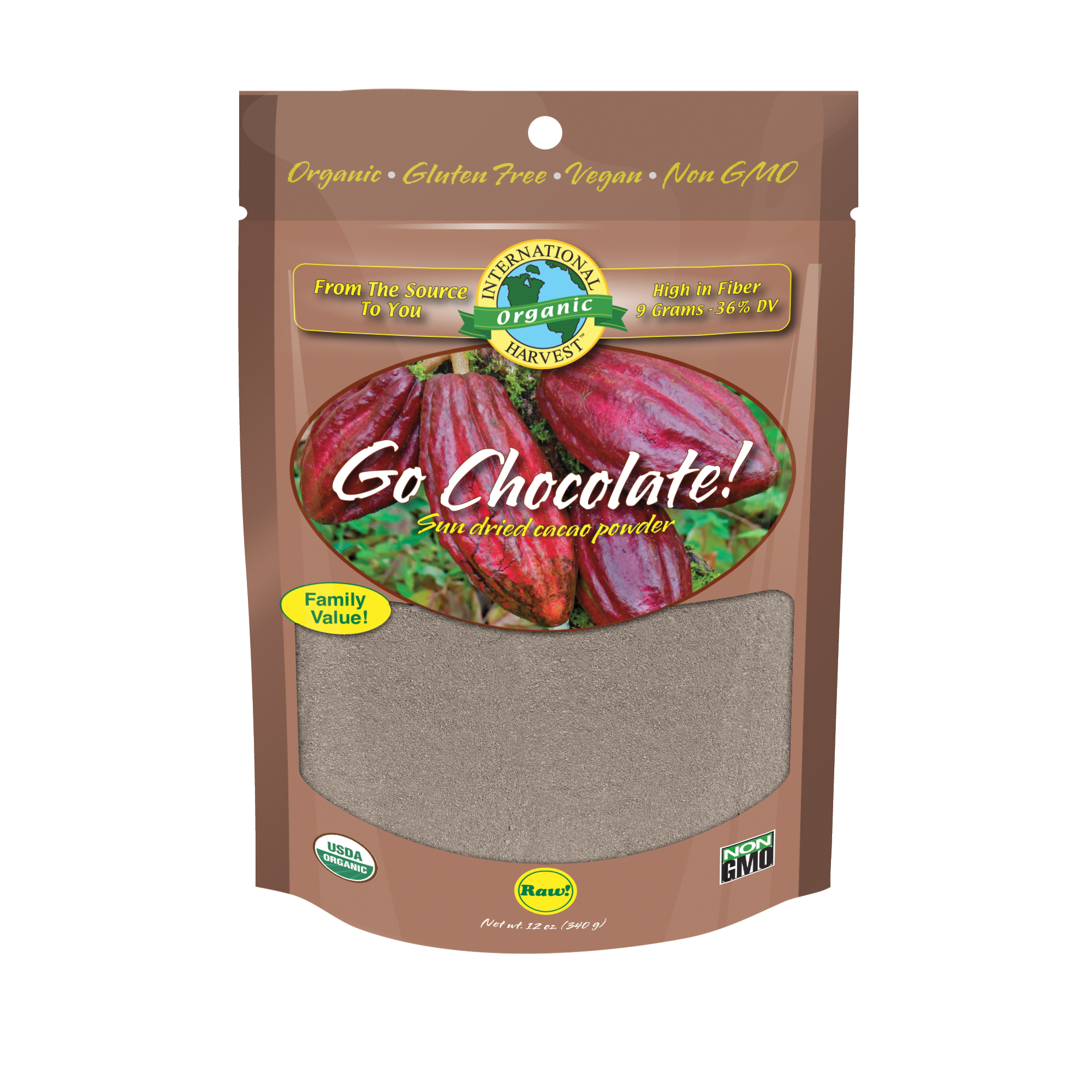International Harvest Go Chocolate, Cacao Powder, 12 Oz
