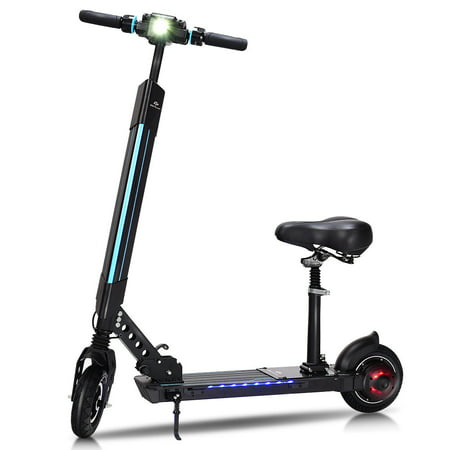 Electric Sit Down Scooter >> Goplus Foldable Electric Scooter With Removable Seat Led Bluetooth