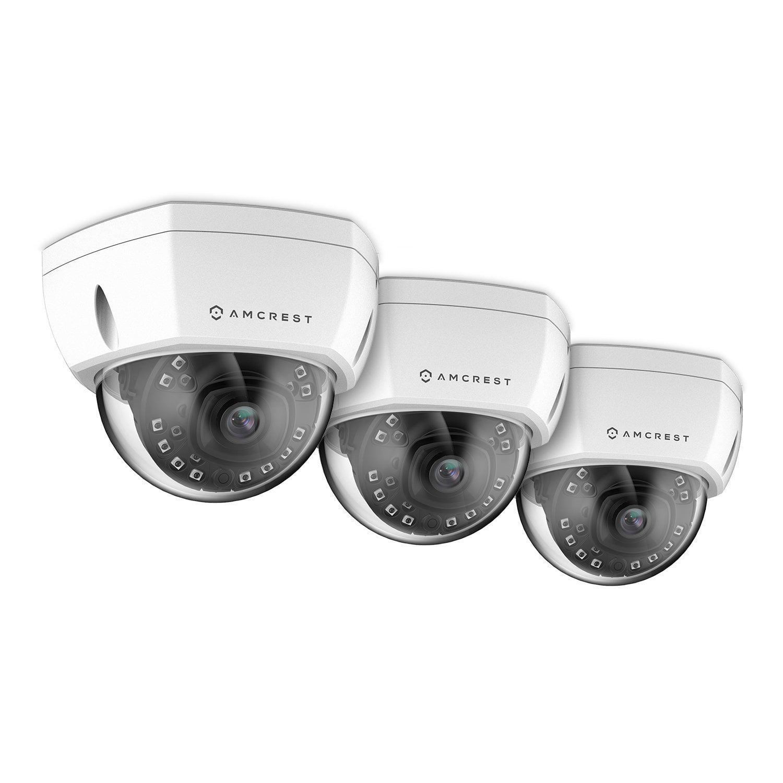 3 Pack Amcrest ProHD Outdoor 4-Megapixel PoE Vandal Dome IP Security Camera - IP67 Weatherproof, IK10 Vandal-Proof, 4MP (2688 TVL), IP4M-1028E (White)