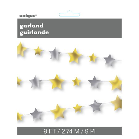 Gold and Silver Foil Stars Garland, - Gold Star Garland
