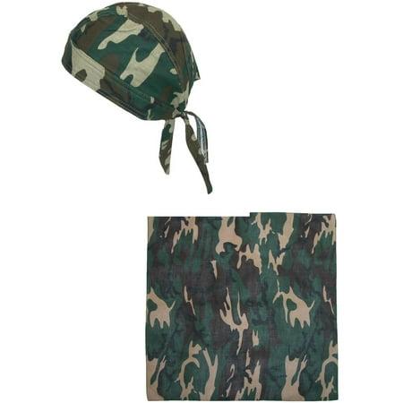 CTM®  Mens Cotton Lined Camo Skull Do Rag Cap with Bandana Kit, - Camo Bandana