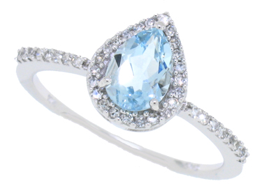 1.21 ct.t.w.Pearshaped Genuine Aquamarine and Diamond Halo Ring 10Kt White Gold by Mytreasurez