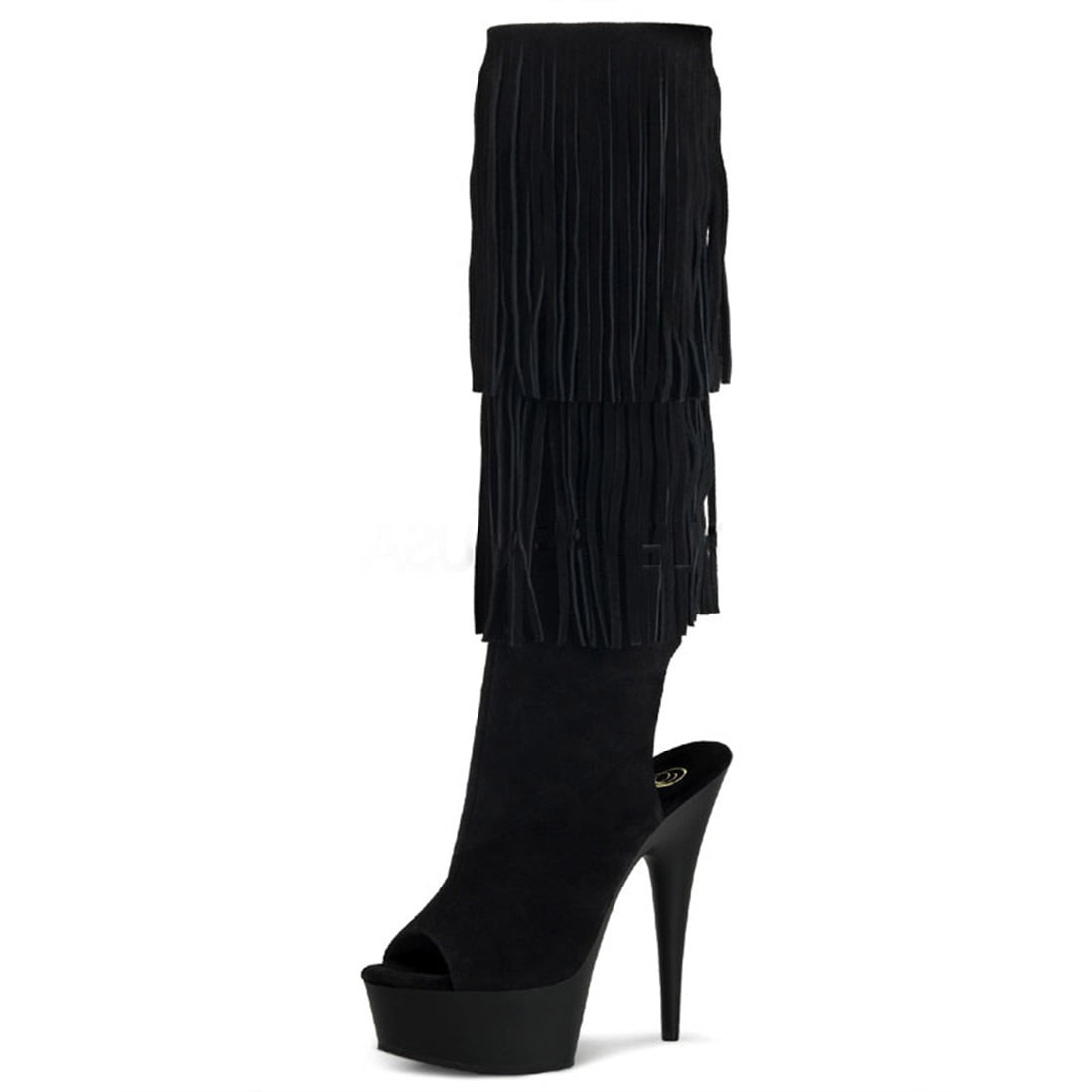 Fringed Knee High Black Suede Boots with Open Back Peep Toe and 6 Inch Heels