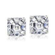 Sterling Silver 2ct Asscher-Cut Stud 6mm Earrings Made with Swarovski Zirconia