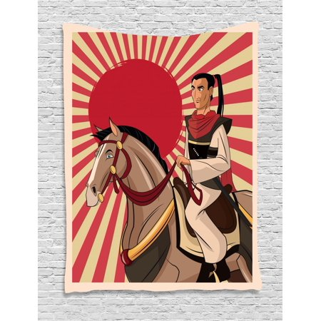 Samurai Tapestry, Japanese Man on a Horse Cartoon Style Oriental Culture Comic Book Effect Stripes, Wall Hanging for Bedroom Living Room Dorm Decor, 40W X 60L Inches, Multicolor, by Ambesonne - Comic Book Decor
