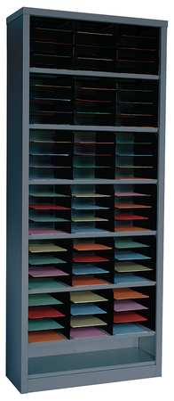 GRAINGER APPROVED Vertical Literature Organizer 72 Compartments, Gray, 5CRY6 by VALUE BRAND