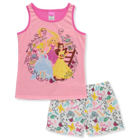 Princess Girls' 2-Piece Pajamas Featuring Cinderella, Rapunzel, and Belle for $<!---->
