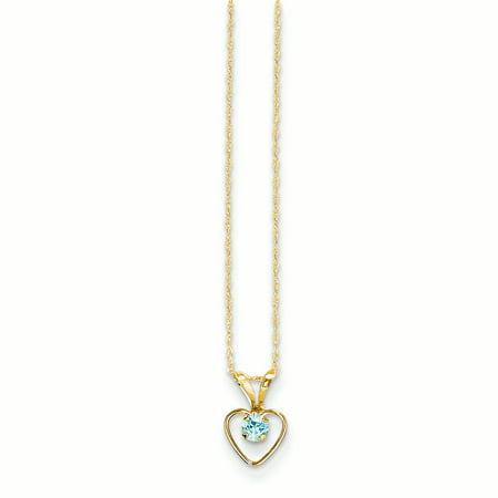 "14K Yellow Gold Madi K 3 MM Blue Zircon Heart December Birthstone Pendant with Necklace, 15"""