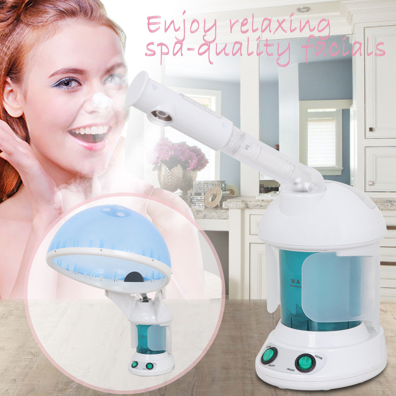 Zeny 2 in 1 Protable Mini Facial Steamer Table Top Face & Hair Hot Salon Ozone Steamer