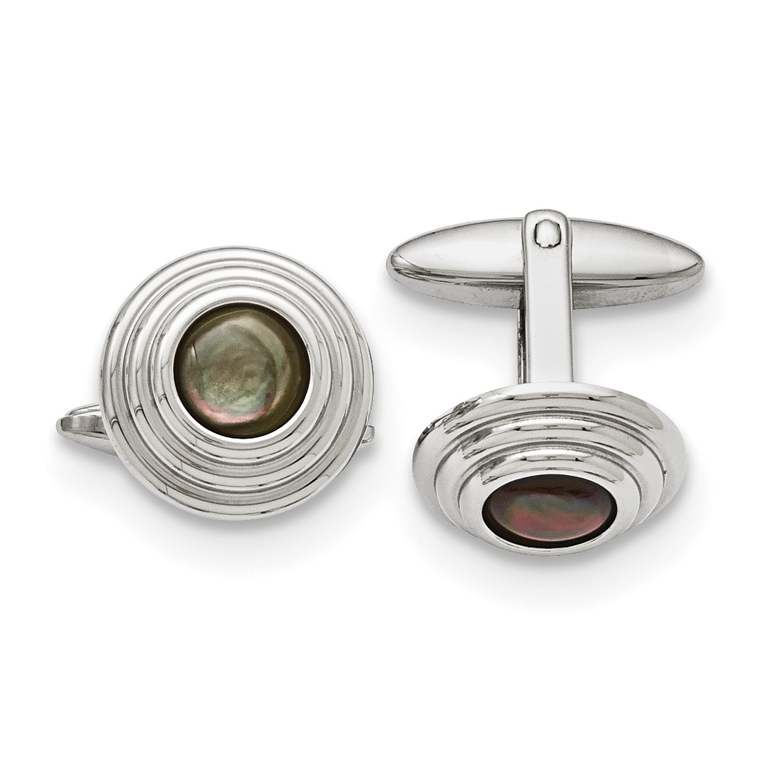 Stainless Steel Polished Black Mother of Pearl Cuff Links - image 3 of 3