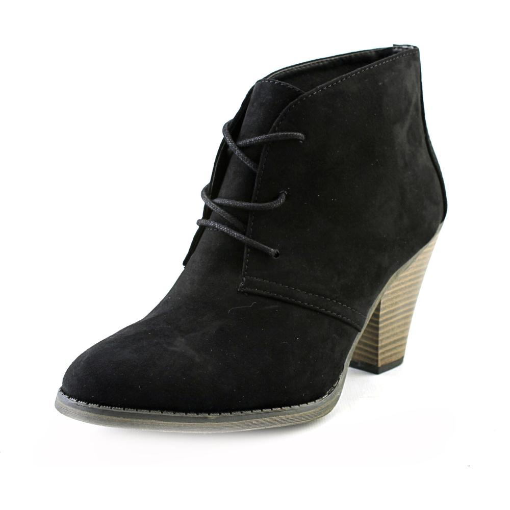 toe synthetic black ankle boot