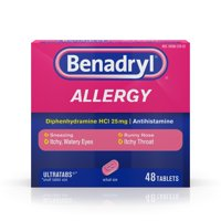 Benadryl Ultratab Antihistamine Allergy Tablets, 48 Ct
