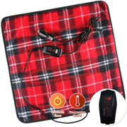 Zone Tech Car Mini Heated Travel Blanket Pad  Red Plaid 12V Comfortable Heating Car Mini Blanket Pad Perfect for Winter Travels