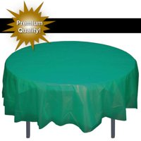 "Exquisite 12 Pack 84"" Round Tablecloth Covers Bulk - White Disposable Plastic Tablecloths - Heavy Duty Premium Plastic Disposable Table Cloths Round"