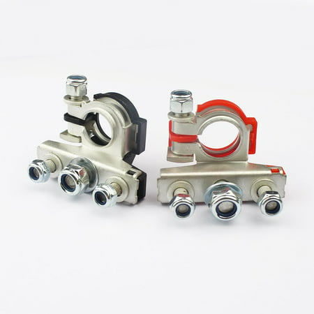 Automotive Connectors - Pair Top-Post Battery Cable Automotive Clamp Terminals Connectors Steel Charge