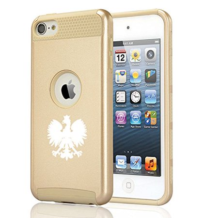30g Apple Ipod (For Apple iPod Touch 5th / 6th Shockproof Impact Hard Soft Case Cover Poland Polish Eagle (Gold))